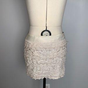 Sans Souci Ivory Lace Layered Miniskirt, Sz S